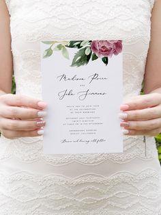 Burgundy Wedding Invitation Template Peony Wedding Invitation