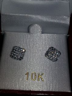 10K Gold 8mm Square Shaped Crystal Stud Earrings NIB with Price Tag #Stud