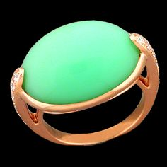 18K Rose Gold Ring with Oval Green Opal Cabochon (14.13ct) bezel set and Diamonds (.34cttw) pav