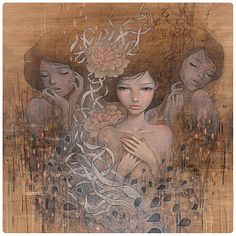 Amazing Paintings by Audrey Kawasaki - Cruzine Audrey Kawasaki, Art And Illustration, Amazing Paintings, Amazing Art, Awesome, Painting On Wood, Painting & Drawing, Arte Pop, Pop Surrealism
