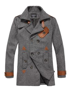 Autumn Men Short Length Korea Double-Breasted Blends Light Grey Coat M/L/XL/XXL@JP19698lg