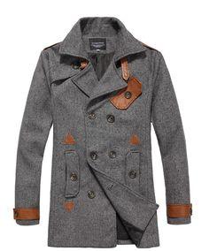 Autumn Men Short Length Korea Double-Breasted Blends Light Grey Coat M/L/XL/XXL@JP19698lg