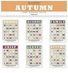 Bingo Board, Digital Form, Autumn Theme, Text Color, Scrapbooks, Altered Art, Mini Albums, Ephemera, Castle Gardens