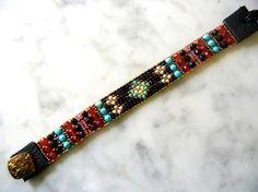 Beaded loomed Southwest style bracelet with by UnderWrapsBoutique