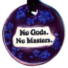 No Gods No Masters Ceramic Necklace in Purple and Blue by surly, $18.00