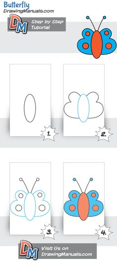 Butterfly Step-by-Step Drawing Tutorial for the youngest http://drawingmanuals.com/manual/butterfly-step-by-step-tutorial/