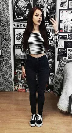 Long sleeved crop top, black denim jeans & Vans shoes by nickysatanabis