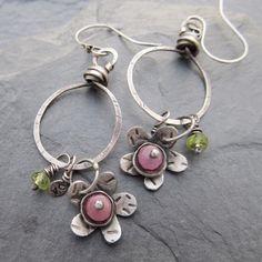 Hoop Earrings Pink Flower Sterling Silver Green by artdi on Etsy