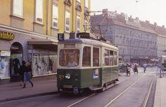 Graz Tw 226 am Jakominiplatz, Graz Austria, Locomotive, Trains, Street View, Window, Europe, Dance, History, City