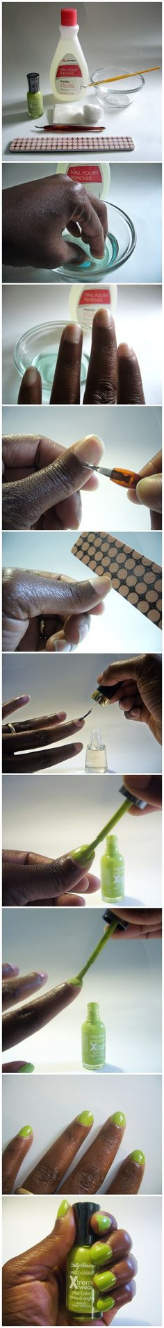 Tutorial --> EASY 5 STEP DIY MANICURE http://apronsandstilletos.blogspot.com/2013/06/easy-5-step-diy-manicure.html