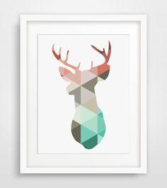 Coral & Mint Deer Head Print, Dear Antlers Wall Art, Turquoise, Grey, Pastel Colors, Deer Wall Art, Deer Print, Triangle Geometric Art op Etsy, 3,72 €
