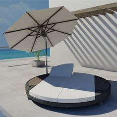 """ISLAND Double Sunbed  DESIGN BY  FREELINE INTERNATIONAL FOR JANE HAMLEY WELLS    WHO ISB 02  98.4"""" ø x 18.1"""" w x 18.1"""" h  Includes: Umbrella, 2 seat and 2 back cushions  Fabric: 10 yards  Rattan options: Chocolate, natural, stone  Specify umbrella color: Dark blue, dark green, natural, white orange, taupe, purple, yellow, pink, green, sand, mustard, seablue, red, black, pepper, salt"""