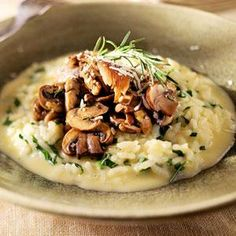 Winning recipe--Chef Charles Dale, Renaissance Restaurant, Aspen, Colorado. Charles' tips: Any combination of mushrooms will work. Use cold chicken stock (even though simmering stock is typically used in risotto) to prevent splattering. Make sure there's some liquid left in the risotto; in fact, it should be pourable because the rice will absorb it as it sits. Always salt mushrooms after they are sautéed, or the salt will pull out their natural water and they'll poach.
