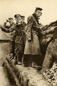 German troops wearing gas masks and throwing hand grenades, 23 April 1916.