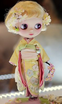 Lemon Kimono Japanese doll with yellow hair & flowers