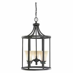 """Add a sophisticated touch to your foyer or entryway with this elegant 3-light pendant, showcasing a cage silhouette and blacksmith finish.  Product: PendantConstruction Material: Steel and glassColor: Blacksmith and cafe tintFeatures:  UL and cUL listed for dry locations120"""" Chain length144"""" Wire length Energy Star qualifiedAccommodates: (3) 13 Watt fluorescent bulbs - includedDimensions: 28"""" H x 16"""" Diameter"""