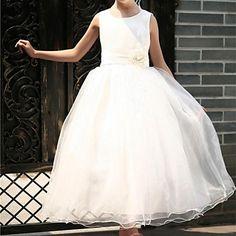 Flower Girl Dress Floor-length Satin/Tulle Ball Gown/Princess Sleeveless Dress – USD $ 49.99