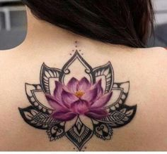 Trendy Tattoo Lotus Mandala Back Tat Mandala Tattoo – Fashion Tattoos Lotus Flower Mandala, Lotus Flower Tattoo Design, Flower Tattoo Foot, Small Flower Tattoos, Lotus Flowers, Tattoo Flowers, Blue Lotus Tattoo, Small Tattoos, Watercolor Lotus Tattoo