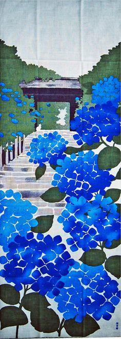 濱文様の絵てぬぐい あじさい物語 hortensias bleus