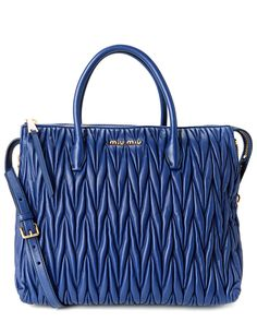 Miu Miu Matelasse Leather Double Handle Tote Blue