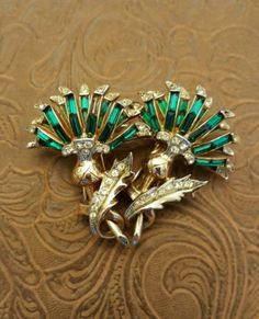 Vintage Coro thistle duette brooch and fur clip set