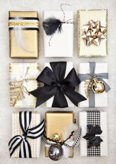Black, white + gold gift wrap