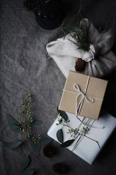 simple and natural gift wrapping ideas for Christmas, Scandinavian Christmas…