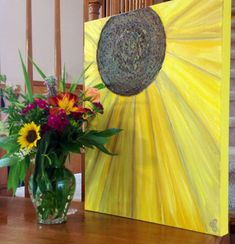 Original Abstract Art SUNFLOWER Textured Acrylic by ColoradoColors, $49.00