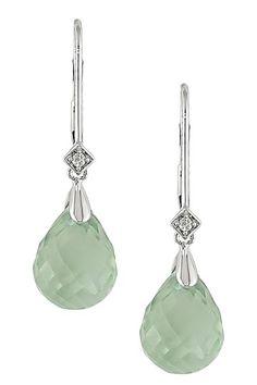 14K White Gold Diamond & Green Amethyst Briolette Drop Earrings