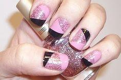 Bubblegum Pink/Silver Glitter/Black Geometric Patchwork Polish #StylingSisters