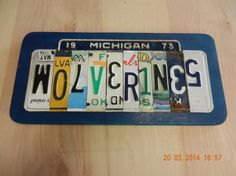 Michigan Wolverines License Plate Sign by TreasuredSunsets on Etsy, $29.95