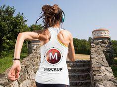 Running Girl Tank Top Backside Mockup For Logo Branding
