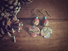 Tribal Inspired Vintage Tin Earrings with by MusingTreeStudios