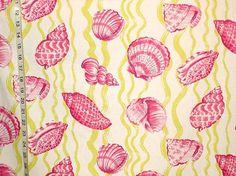 Violet pink sea shell fabric green stripe tropical seashell beach interior home decorating material 1 yard