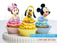 Mickey cupcake toppers Minnie cupcake toppers pluto cupcake