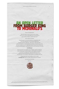 McWhopper | Burger King World Peace Day Advertising Campaign  | Award-winning Press Advertising | D&AD #yellowpencilwinner