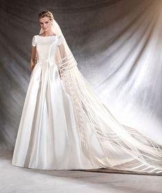 OTELO - Vestido de noiva de mikado, renda e decote em barco