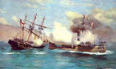 El Pretexto de la Guerra del Guano y el Salitre War Of The Pacific, Naval History, Military Diorama, Tall Ships, Sailing Ships, Painting, Inca, Google, Steel