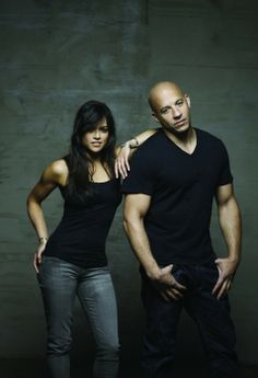 Michelle Rodriguez and Vin Diesel . Can't wait for fast and the furious 6 to be in theatres!!!