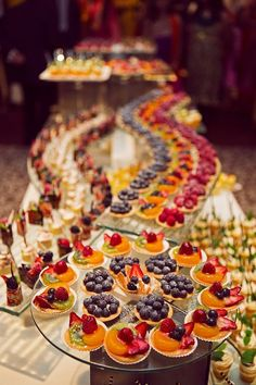 Wedding Food - [tps_header][/tps_header] Wedding Catering Trends: Top 8 Wedding Dessert Bar Ideas One of the hottest trends right now – small personalized desserts! Don't order a cake, just go for a huge variety of mini desserts s. Mini Desserts, Colorful Desserts, Wedding Desserts, Wedding Appetizers, Wedding Cakes, Fruit Appetizers, Wedding Appetizer Table, Colorful Food, Individual Desserts