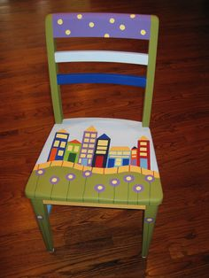 63 Ideas Refurbished Furniture For Kids Chair Makeover Hand Painted Chairs, Whimsical Painted Furniture, Hand Painted Furniture, Funky Furniture, Refurbished Furniture, Paint Furniture, Repurposed Furniture, Kids Furniture, Chair Makeover