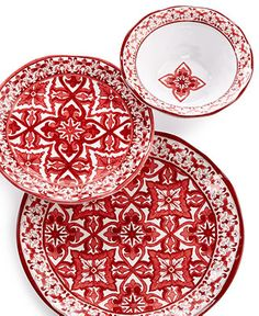 """QSquared Talavera Roja Collection. Love this, what a fun, bold color & pattern. Melamine. 16"""" Platter, $42.00. 10½"""" Dinner, $12.00. 8"""" Salad Plate, $10.00. 5½"""" Dessert/Appetizer Plate, $6.00. 12"""" Serving Bowl, $32.00. 6½"""" Cereal Bowl, $10.00. 1.macys.com, 10/4/15"""