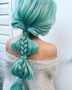 Hair Color Blue, Colored Hair, Spring Hairstyles, Braided Hairstyles, Glam Hair, Beautiful Hairstyles, War Paint, Hair Art, Dares