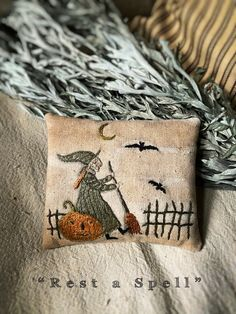 Rest a Spell Hand Embroidery PDF/Download PATTERN from | Etsy Primitive Embroidery Patterns, Primitive Stitchery, Folk Embroidery, Types Of Embroidery, Embroidery Designs, Primitive Fall, Embroidery Hoops, Vintage Embroidery, Halloween Embroidery