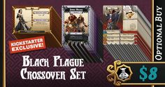 The Black Plague Crossover Set is a Kickstarter Exclusive Optional Buy that brings you over 50 cards to allow you to use a lot of the retail content from Zombicide: Black Plague in Massive Darkness. It will also allow you to use all of the Massive Darkness Heroes as Survivors in Zombicide: Black Plague!  Of course, a Zombicide: Black Plague core box is necessary to use this content, and some of it requires a few of the expansion boxes. This Crossover Set will not be available on retail