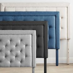 Shop for BROOKSIDE Upholstered Headboard with Diamond Tufting. Get free delivery at Overstock - Your Online Furniture Shop! Get in rewards with Club O! Grey Headboard, Queen Size Headboard, Bookcase Headboard, Panel Headboard, Bedroom Furniture For Sale, Bedroom Decor, Master Bedroom, Bedroom Ideas, Pallet Furniture