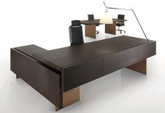 Contemporary executive wooden office desk THE ELEMENT Uffix Concept by Uffix Law Office Design, Office Table Design, Ceo Office, Reception Desk Design, Modern Office Design, Office Furniture Design, Office Desks, Executive Office Furniture, Executive Room