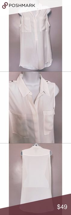 {WHBM} Hi-Low Sleeveless Blouse with Epaulets New without tags. Perfect for summer! Pullover high-low blouse with epaulets and front pockets. White House Black Market Tops