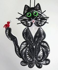 Quilled / Filigree Kitty Cat Hanging Ornament by AGiftwithinaGift,