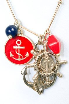 ANCHORS AWAY NECKLACE RED/NAVY - $14.99